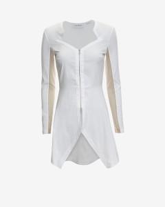 Yigal Azrouel Poplin Mesh Inset Zipper Tunic Shirt
