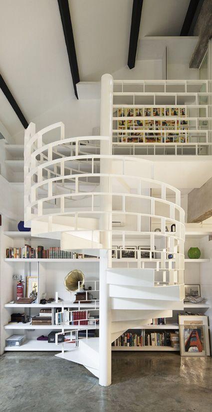 Modern White Staircase Cami Weinstein