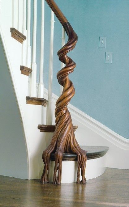 Natural Wood Staircase Banister Cami Weinstein