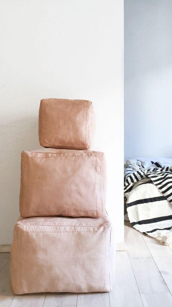 Leather Pouf Cami Weinstein
