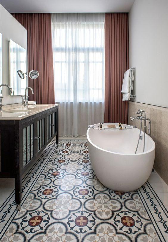 Cement Tile Bathroom Flooring Cami Weinstein