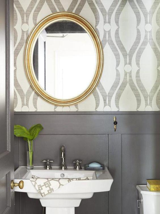 Grasscloth Bathroom Wallpaper Cami Weinstein Designs LLC