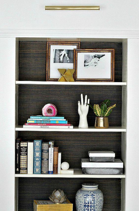 Grasscloth Wallpaper Bookshelf Cami Weinstein Designs LLC
