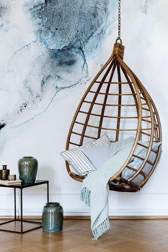Swinging Rattan Chair Cami Weinstein