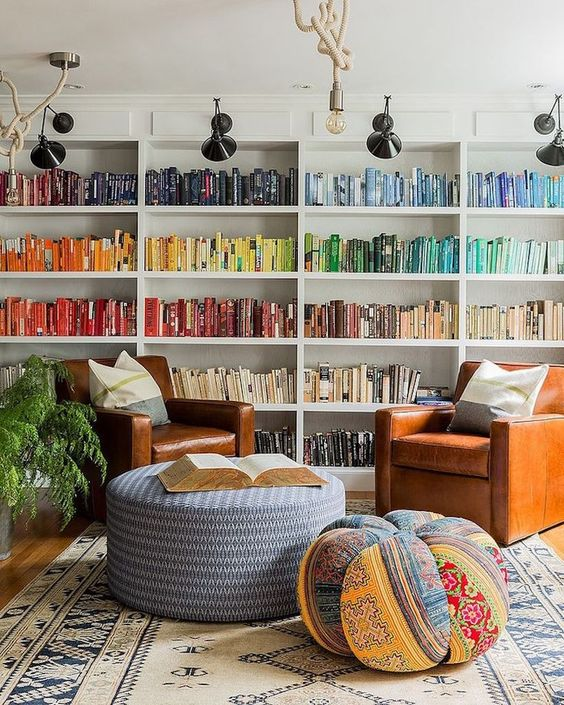 Colorful Home Library Cami Weinstein