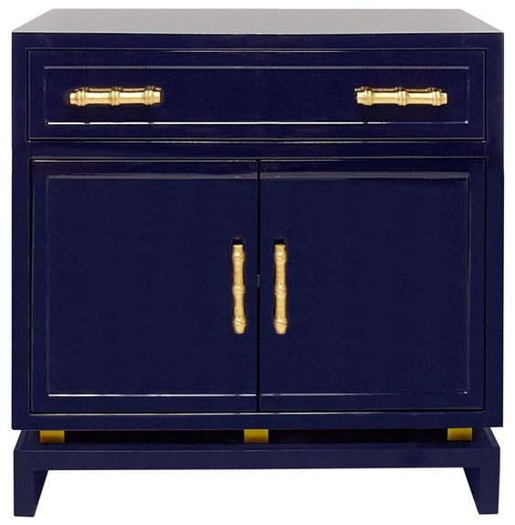Tracey Hollywood Regency Navy Blue Lacquer Nightstand Cabinet via Kathy Kuo Home