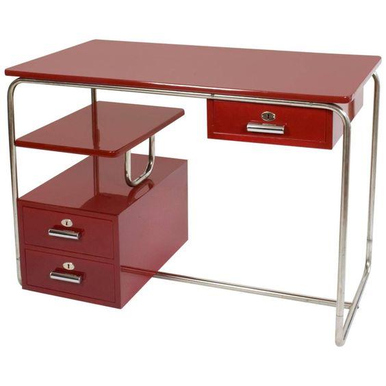 1940s Bauhaus Thonet Design Steel Tube Desk Purple Red