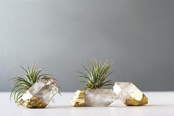Air Plant Gold Dipped Quartz Crystal