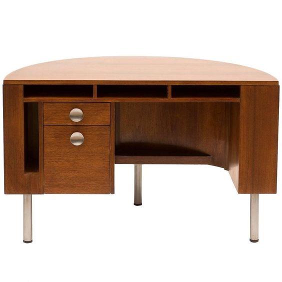 Art Deco Demilune Desk by Gilbert Rohde in Walnut, 1942