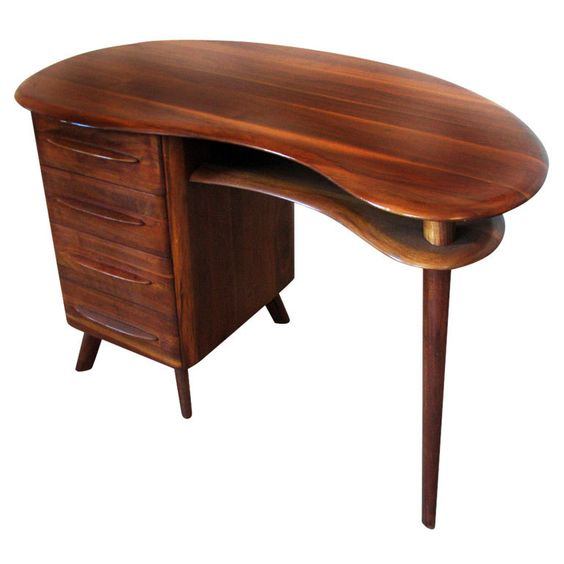 Mid-Century Modern Free-Form Desk in Solid Walnut by Carl Bissman