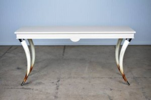 Faux Bull Horn Console with Stainless Steel Feet